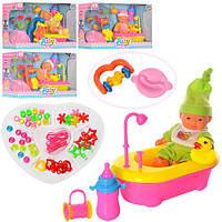 Пупс YD829-31-32 (72шт.) 12см,ванна,тарелка,ложка,погремушка,аксессуары,3вида,в коробке27-16-10см