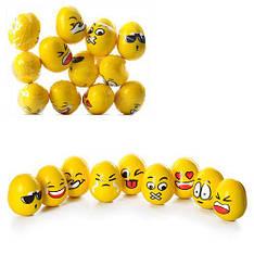 Мяч детский фомовый MS 0240  5,5см, яйцо, смайл, микс видов, 12шт. в кульке 14-18-5,5см