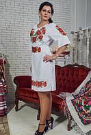 """Вишита сукня """"Маки"""" біле"""