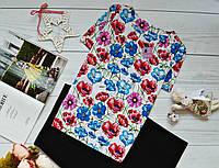 Женская блуза короткий рукав, яркий принт: разноцветные маки