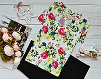 Женская блуза короткий рукав, яркий принт: летный букет