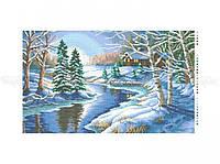 Схема вышивки бисером «Зимняя река» (30x60)