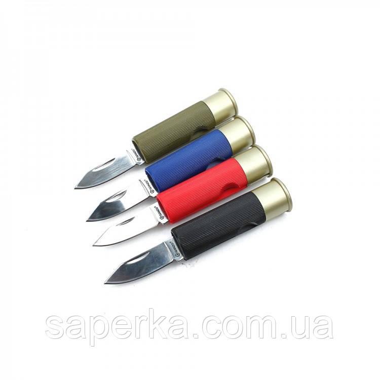 Нож компактный в виде патрона Ganzo (черный, синий, красный, зеленый) G624M-BK