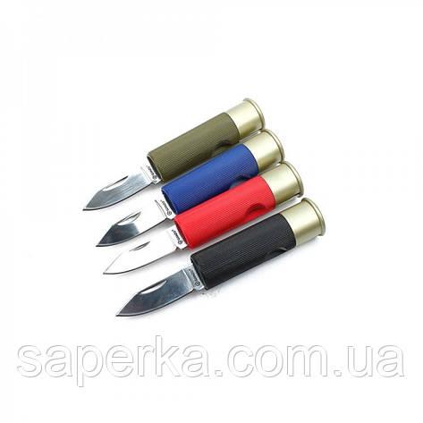 Нож компактный в виде патрона Ganzo (черный, синий, красный, зеленый) G624M-BK, фото 2