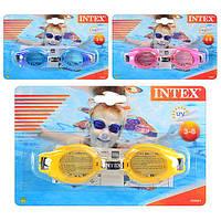 Очки для плавания 55601 3 цвета, 3-8 лет, регулируемый ремешок, на листе, 19,5-12,5см