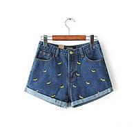 Шорты джинсовые женские с бананами (синие)