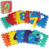 Коврик Мозаика M 2608 (10шт.) EVA,цифры,10дет(10мм,31,5-31,5см.),массажн,6текстур,пазл,31,5-31,5-10см.