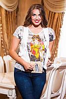Женская стильная летняя футболка варка. Размеры: L(48-50),XL(50-52),XXL(52-54), фото 1