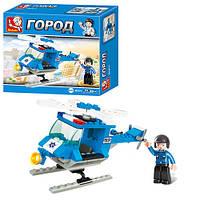 Конструктор SLUBAN M38-B0175 (90шт) полиция, вертолет, фигурка, 85дет, в кор-ке, 16,5-14,5-4,5см