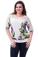 """Красивая шифоновая женская блуза  """"Нино""""  размер 52,54,56,58"""