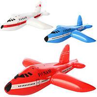 Надувная игрушка MSW 021 (360шт.) самолет 58см, 3цвета, в кульке 14-16см