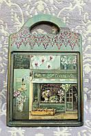 """Подарочная разделочная доска """"Цветочный магазин"""" (ручная работа), фото 1"""