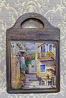 """Подарочная разделочная доска """"Итальянский дворик"""" (ручная работа), фото 1"""