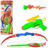 Набор оружия A822 (90шт.) лук42см, стрелы-присоски3шт., пистолет,присоски3шт.,3цвета,на листе,9-57-3см