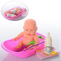 Пупс 0812-36 (138шт.) 13см, мальчик, с ванной, бутылочка, 2 цвета, в кульке 17,5-4-11см