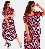 Красивое летнее женское свободное длинное платье большого размера с разрезами на плечах