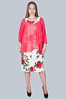 """Нарядное женское платье """"Розы"""". Цвет белый. Размер 54, Код 582, фото 1"""