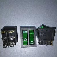 Переключатнль Lemanso LSW 04 двойной зеленый с подсветкой