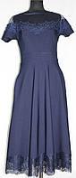 Платье нарядное женское, короткий рукав, синее, размер 38, Турция