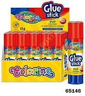 Клей-карандаш, 15 гр., цена за уп. в уп. 20шт., ТМ Colorino(65146)