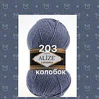 Пряжа для ручного вязания Alize LANAGOLD (Ализе ланаголд) 203 джинс меланж