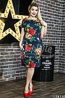 Платье женское в розах в большом размере