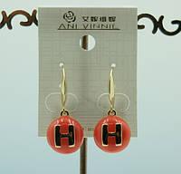 Hermes бижутерия, серьги эмаль, оптом .339