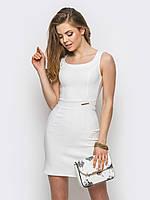 Красивое аккуратное женское платье из стрейч-джинса Modniy Oazis белый 90238/1