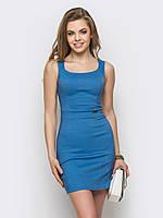 Красивое аккуратное женское платье из стрейч-джинса Modniy Oazis синий 90238/2
