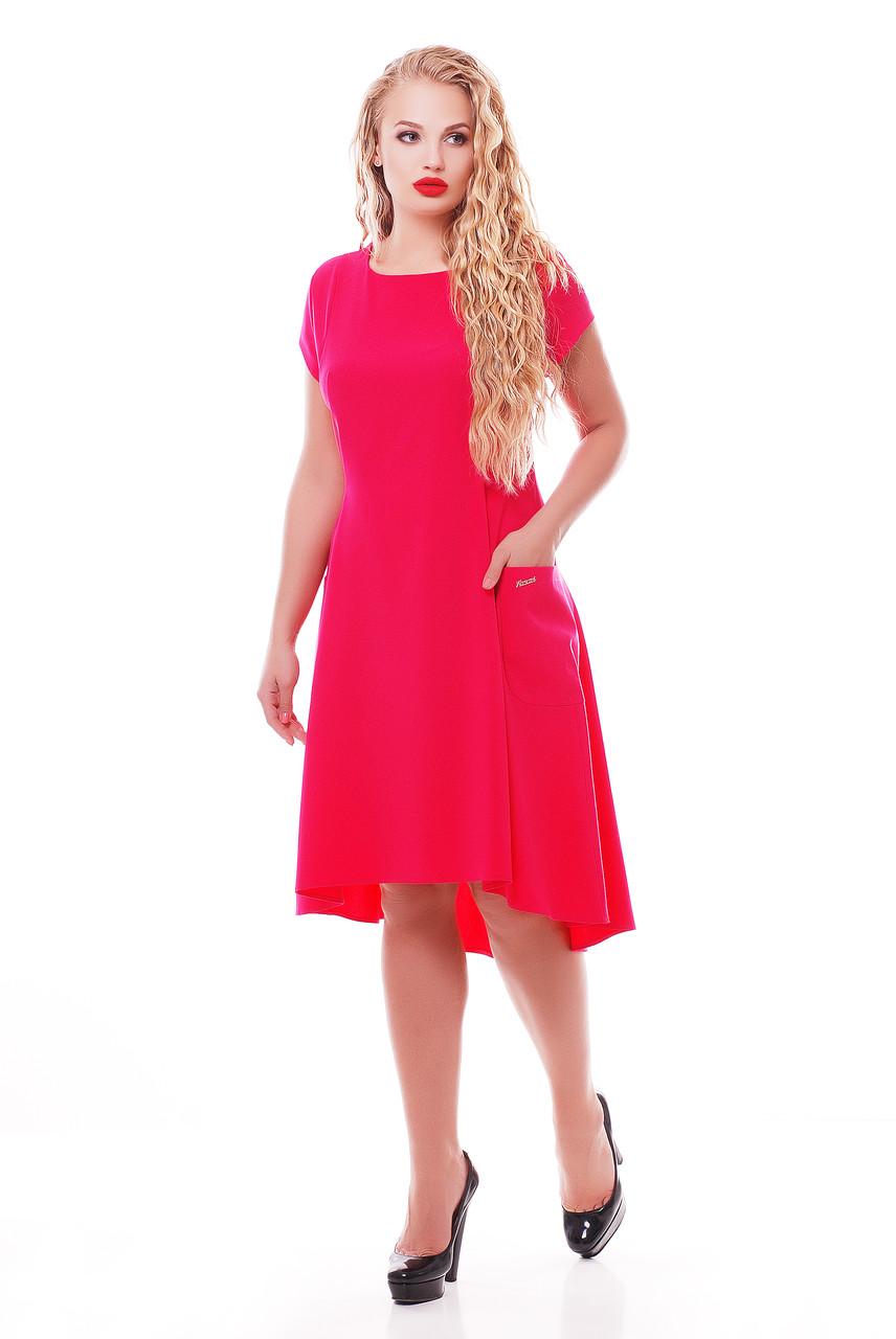 Платье   Милана короткий рукав малиновое