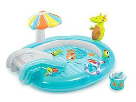 Бассейн с горкой от 2 лет Крокодил с игрушками для купания Intex 57165