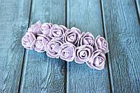 """Розы латексные ( из ФОМа, фоамирана), 2 - 2,2 см диаметр, 144 шт. цвета """"пудровый сиреневый"""" на стебле, оптом"""