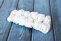Розы латексные ( из ФОМа, фоамирана), 2 - 2,2 см диаметр, 144 шт. белого цвета  на стебле, оптом