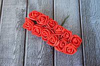 Розы латексные ( из ФОМа, фоамирана), 2 - 2,2 см диаметр, 144 шт. ярко-красного цвета на стебле, оптом