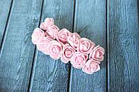 Троянди латексні ( з ФОМа, фоамирана), 2 - 2,2 см діаметр, 144 шт. ніжно-рожевого кольору на стеблі, оптом, фото 1