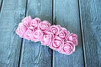Розы латексные ( из ФОМа, фоамирана), 2 - 2,2 см диаметр, 144 шт. розового цвета на стебле, оптом, фото 1
