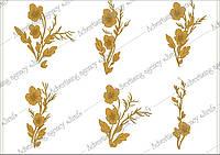 Красивые золотые цветы для декора или фона. Векторный клипарт.