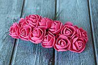 Розы латексные ( из ФОМа, фоамирана), 2 - 2,2 см диаметр, 144 шт. малинового цвета на стебле, оптом, фото 1