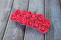 Розы латексные ( из ФОМа, фоамирана), 2 - 2,2 см диаметр, 144 шт. темно-малинового цвета на стебле, оптом, фото 1