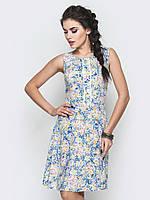 Легкий летний полуприталенный женский сарафан с цветочным принтом 90243