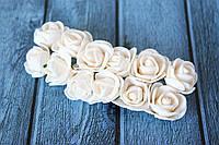"""Розы латексные ( из ФОМа, фоамирана), 2 - 2,2 см диаметр, 144 шт. , цвета """"пудра"""" на стебле, оптом, фото 1"""