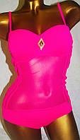 Купальник слитный танкини розовый чашка Анжелика Push-Up Размеры 38-46