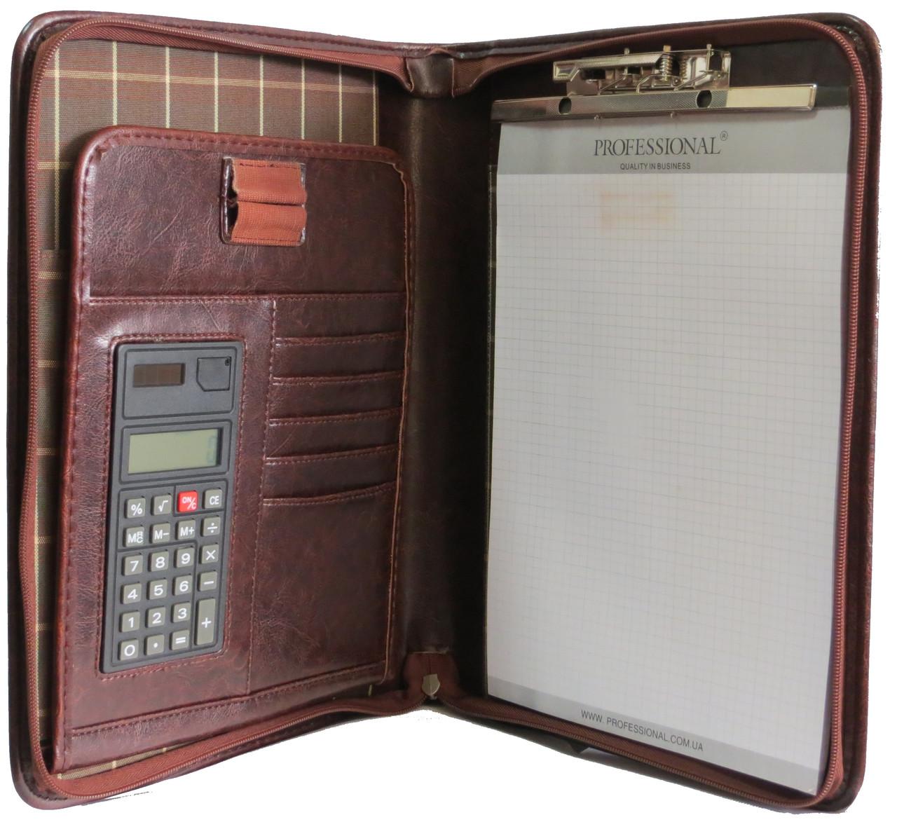 Папка с калькулятором из кожзаменителя Professional S756.23 коричневая
