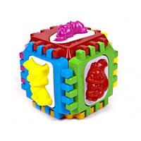 Куб-сортер логический, с вкладышами, в сетке 14*14*14см, Украина (15шт)(50-001)