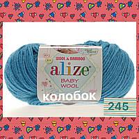 Пряжа для ручного вязания Alize Baby wool (Ализе Беби вул) 245 бирюзовый