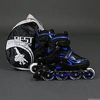 Ролики Blue - Best Rollers /размер 35-38/, колёса PU, без света, d=7см, сумка (6шт)(6006/M/Blue(35-38))
