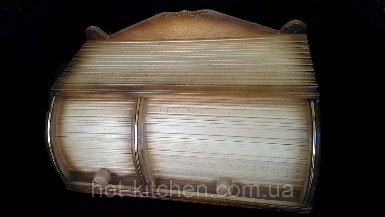 Хлебница деревянная двойная 38*30*19