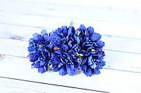 """Декоративные тканевые цветы """"Василек"""", 3,5 - 4 см, 60 шт/уп, синего цвета оптом"""