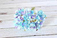 """Декоративные тканевые цветы """"Василек"""", 3,5 - 4 см, 6 шт/уп, голубого цвета"""
