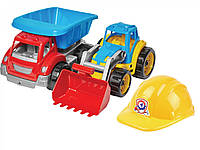 "Іграшка ""Малюк-Будівельник 3 ТехноК"",машинка, каска, в сетке 28*35*18см, ТМ Технок, Україна  (шт)(3954)"